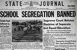 Topeka Newspaper Headline on Brown vs Board of Education Supreme Court Ruling, image from National Archives