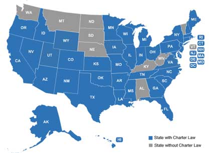 States with and without Charter School Laws image from www.parentcorticalmass.com
